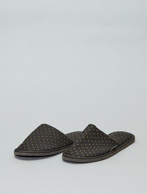 Zapatillas de casa estampadas                                         negro Mujer talla 34 a 48
