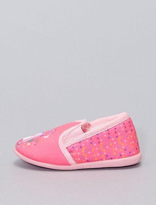 Zapatillas de casa flexibles de tela                             fucsia