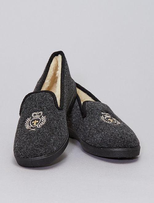 Zapatillas de casa forradas con escudo                             negro