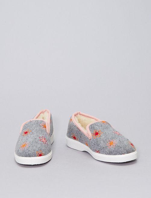 Zapatillas de casa forradas                             GRIS