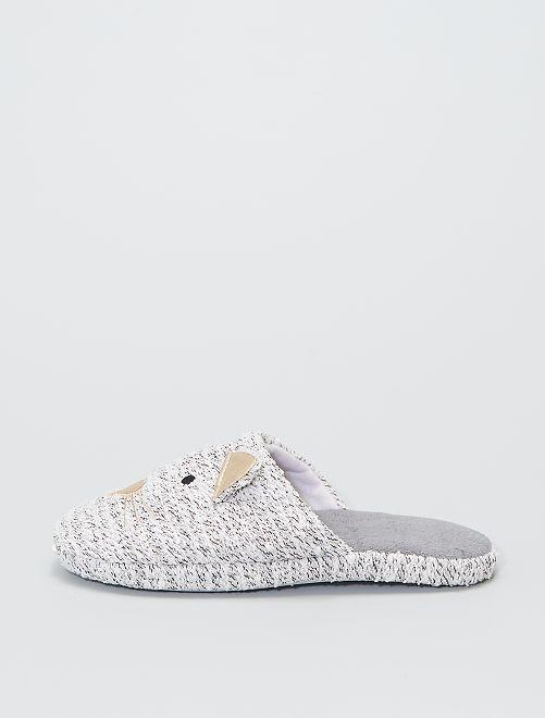Zapatillas de casa 'gato' rizo                             gris