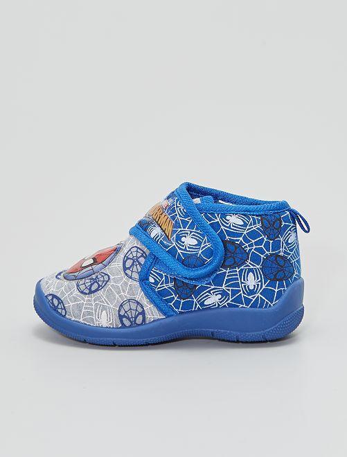 Zapatillas de casa 'Spiderman' velcro luz                                         azul