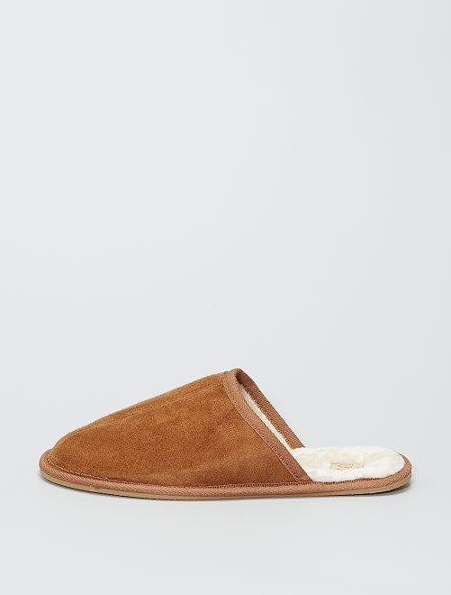 Zapatillas de casa tipo antelina                             camello