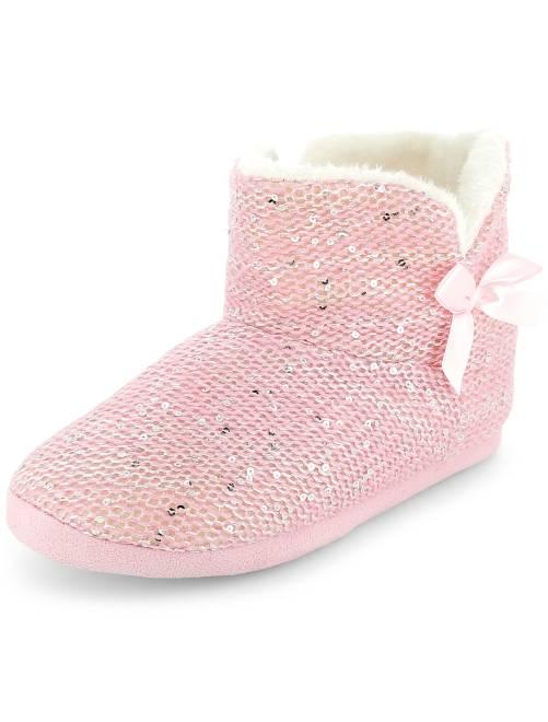 Zapatillas de casa tipo botas con lentejuelas                                         blanco Mujer talla 34 a 48