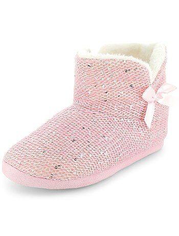 Zapatillas de casa tipo botas con lentejuelas - Kiabi