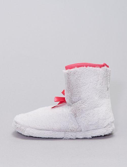 Zapatillas de casa tipo botas de punto                             gris