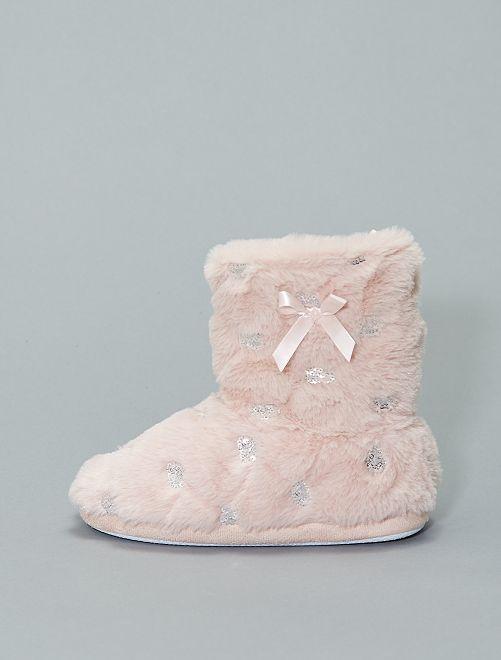 Zapatillas de casa tipo botas forradas con lentejuelas                             rosa