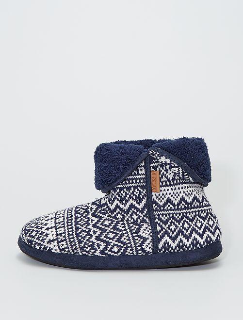 Zapatillas de casa tipo botines de punto                                         AZUL