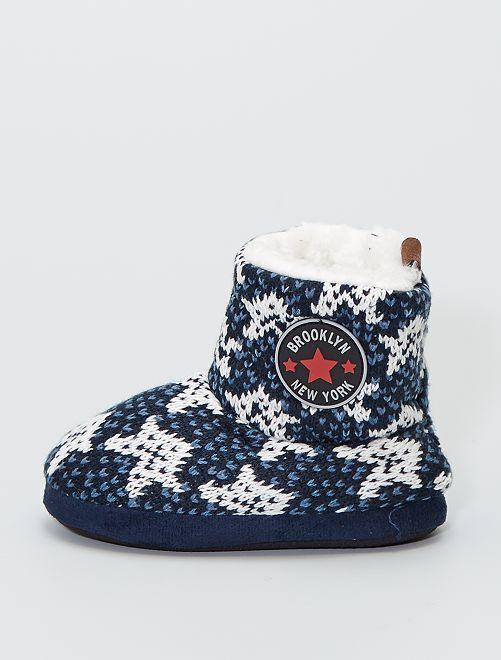 Zapatillas de casa tipo botines de punto                                         BEIGE
