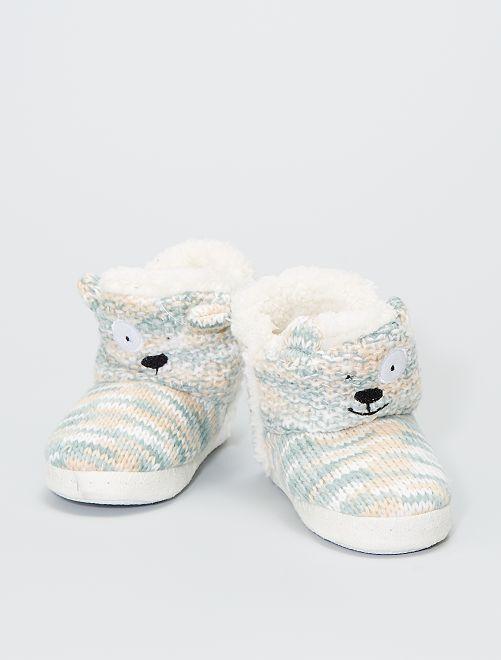 Zapatillas de casa tipo botines de punto                                                     crudo