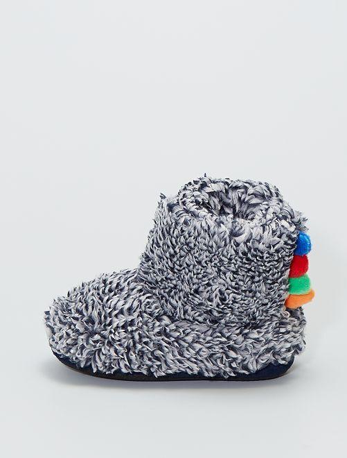 Zapatillas de casa tipo botines de punto de felpa                                         azul
