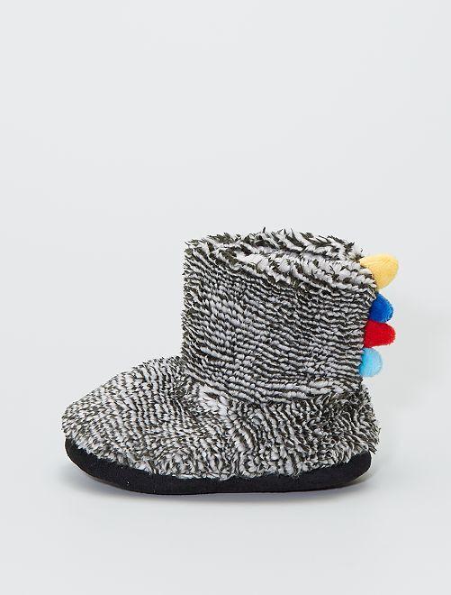 Zapatillas de casa tipo botines de punto de felpa                                         gris