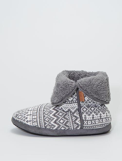 Zapatillas de casa tipo botines de punto                                         gris