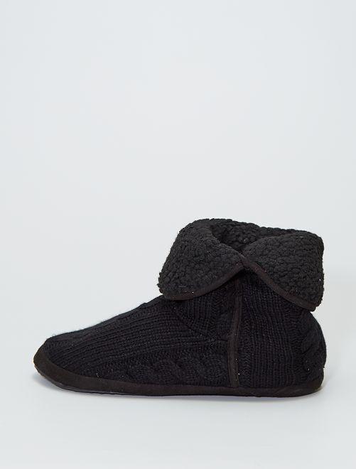 Zapatillas de casa tipo botines de punto                                         NEGRO