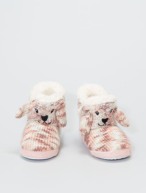 Zapatillas de casa tipo botines de punto                                                     rosa
