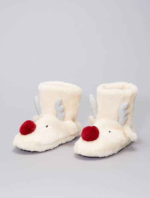 Zapatillas de casa tipo botines de tejido polar                                         BEIGE
