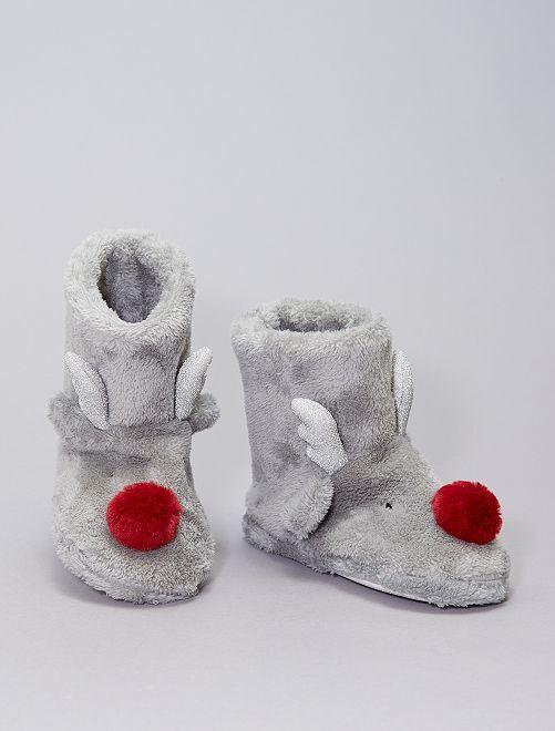 Zapatillas de casa tipo botines de tejido polar                                         gris