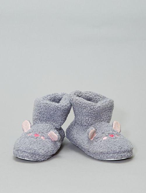 Zapatillas de casa tipo botines 'ratón'                                         gris
