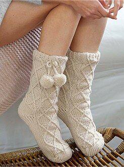 Calcetines, medias - Zapatillas de casa tipo calcetín con forro de borreguito