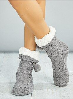 Mujer Zapatillas de casa tipo calcetín con forro de borreguito