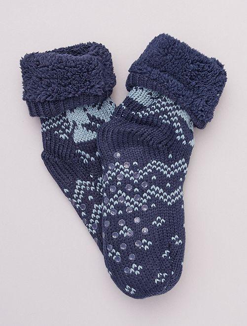 Zapatillas de casa tipo calcetines de punto grueso                                                     azul