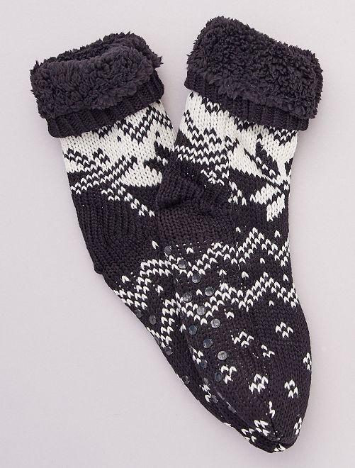 Zapatillas de casa tipo calcetines de punto grueso                                                     crudo
