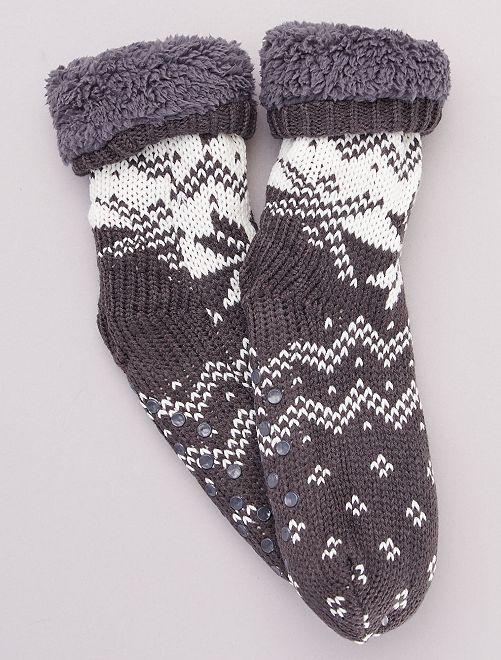 Zapatillas de casa tipo calcetines de punto grueso                                                     gris
