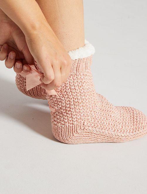 Zapatillas de casa tipo calcetines de punto grueso                             rosa