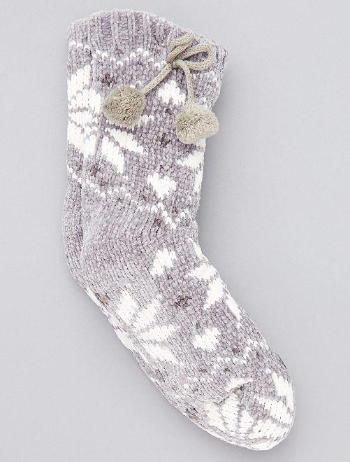 Zapatillas de casa tipo calcetines forradas                     GRIS