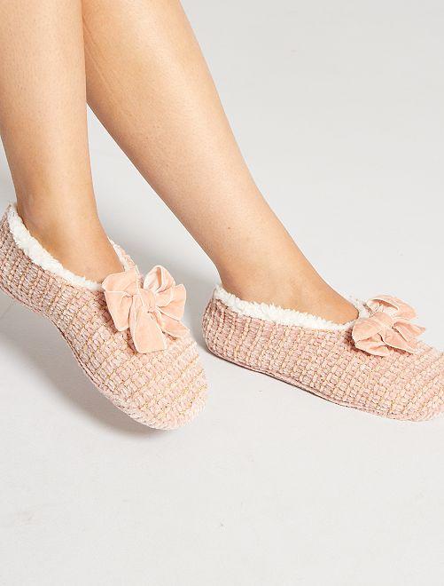 Zapatillas de casa tipo manoletinas de punto                                                     rosa