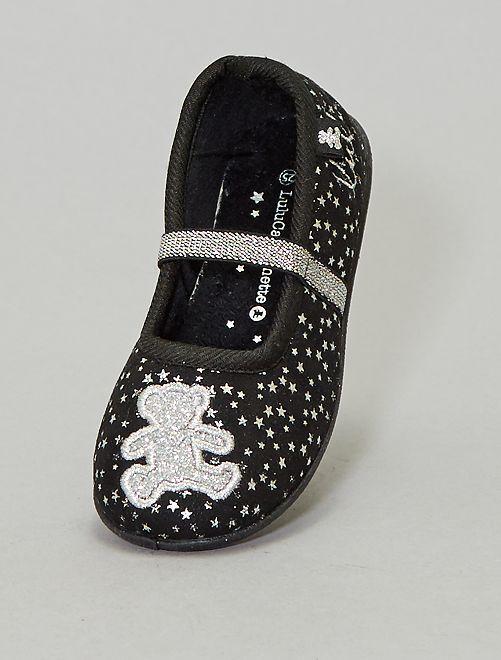 Zapatillas de casa tipo manoletinas 'Lulu Castagnette'                             NEGRO