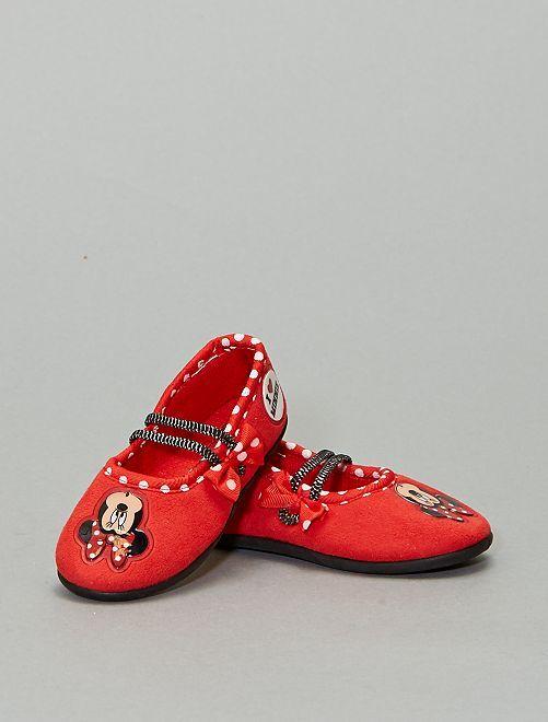 Zapatillas de casa tipo manoletinas 'Minnie'                             ROJO