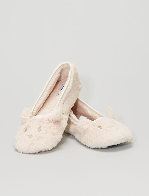 Zapatillas de casa tipo manoletinas                             rosa