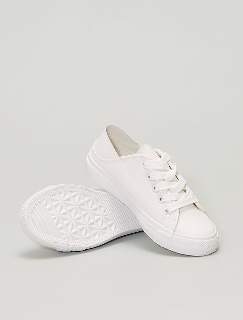 Zapatillas de material sintético con parte trasera elástica                             blanco