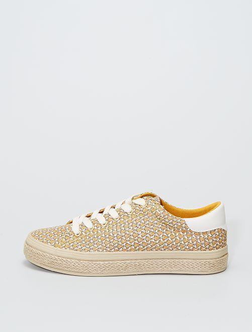 Zapatillas de rejilla estilo alpargatas                             amarillo