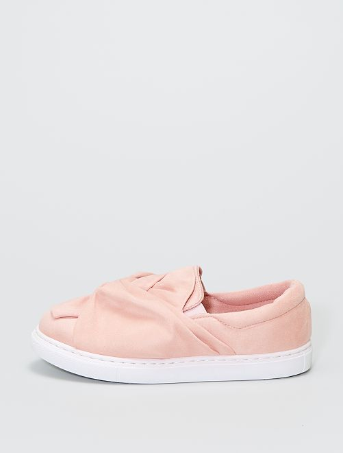 Zapatillas de tejido de antelina con detalle de lazo                             rosa