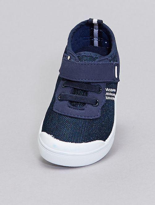 Zapatillas de tela con cordones elásticos                             azul