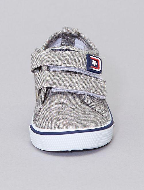 Zapatillas de tela con velcro                             BEIGE