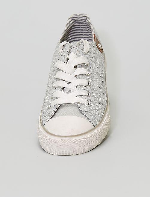 Zapatillas de tela efecto encaje                             BEIGE
