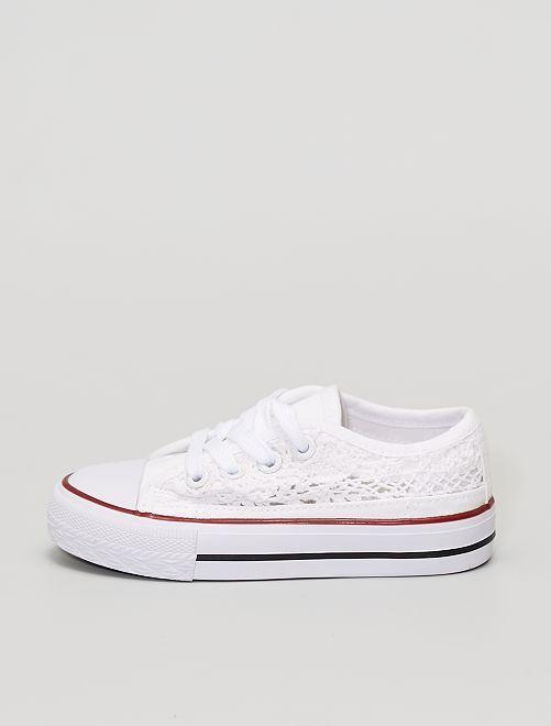 Zapatillas de tela encaje                             blanco