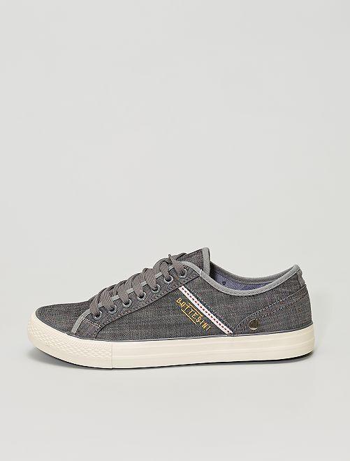 Zapatillas de tela jaspeada                             gris