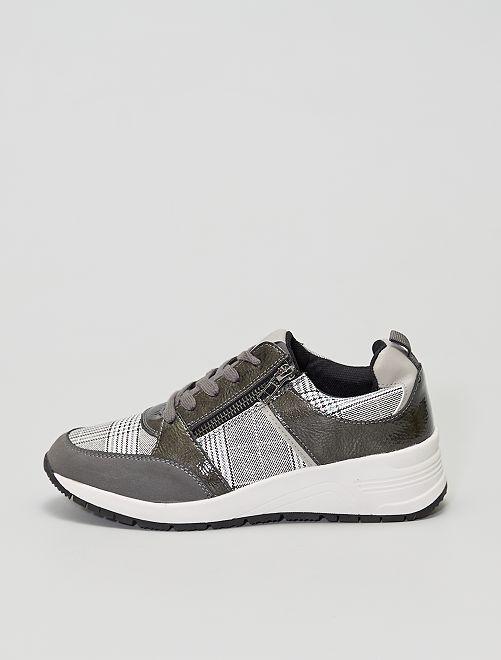 Zapatillas deportivas a cuadros                             NEGRO