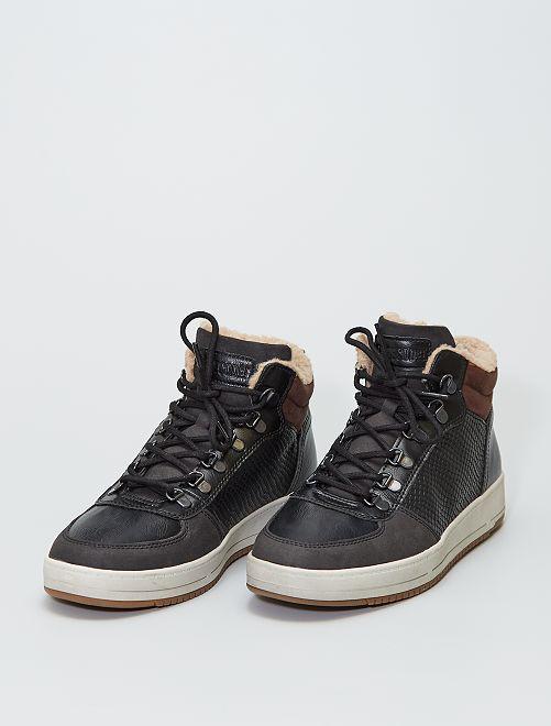 Zapatillas deportivas altas con borreguito sintético en el tobillo                             negro