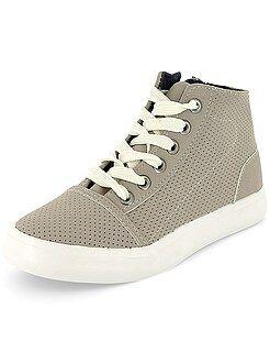 Zapatillas deportivas altas de piel sintética perforada - Kiabi