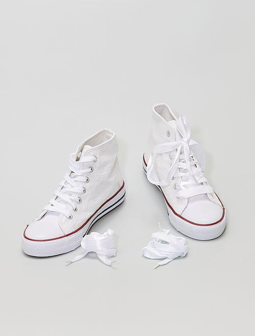 Zapatillas deportivas altas de tela                                         blanco
