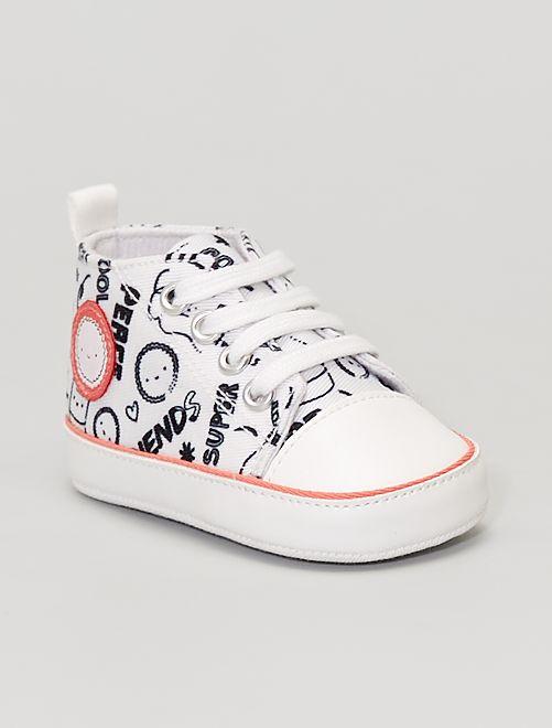 Zapatillas deportivas altas de tela estampada                             BLANCO