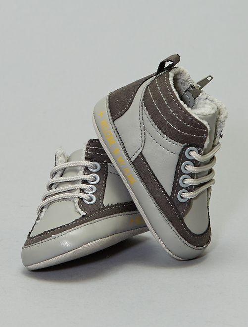 Zapatillas deportivas altas forradas con cordones                             gris ratón