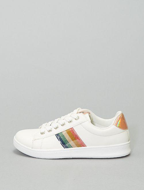 Zapatillas deportivas bajas 'arcoíris'                             blanco