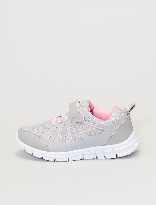 Zapatillas deportivas bajas con cordones elásticos y velcro                             gris/rosa