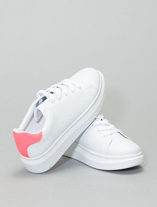 Zapatillas deportivas bajas con detalle flúor                             fucsia
